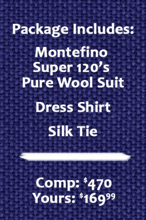 Montefino  Solid Black Pure Wool Suit