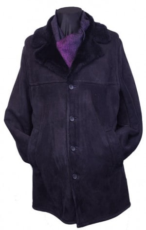 Fourteen Zero Navy Shearling Coat #0032-1