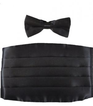 Poly Satin Black Cummerbund and Bow Tie Set #105CTX