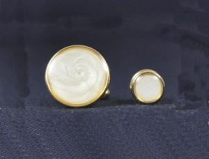 Gold & Pearl Cuff Link & Stud Set #1101-G