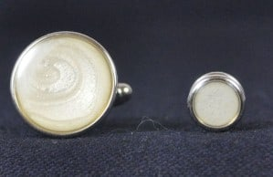 Cuff Links & Stud Set - Silver & Pearl #1101-S