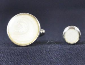 Silver & Pearl Cuff Link & Stud Set #1101-S