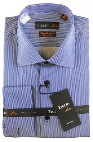 Tiglio Navy Stripe French Cuff Tailored Fit Shirt #13-13635