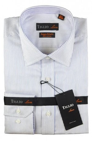 Tiglio Blue Stripe Tailored Fit Dress Shirt #13-23659