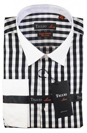 Tiglio Black & White Check French Cuff Tailored Fit Dress Shirt #13-24834