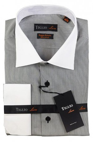 Tiglio Black & White Fine Check French Cuff Tailored Fit Shirt #13-24863