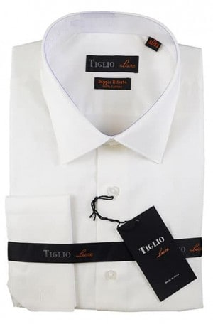 Tiglio White French Cuff Tailored Fit Dress Shirt #13-25002