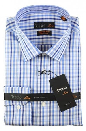 Tiglio Blue Check Tailored Fit Shirt #13-25144