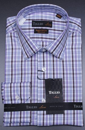 Tiglio Blue Check Dress Shirt #13-25145