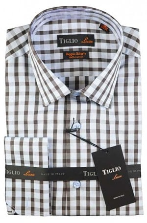 Tiglio Navy Check French Cuff Tailored Fit Shirt #13-25201