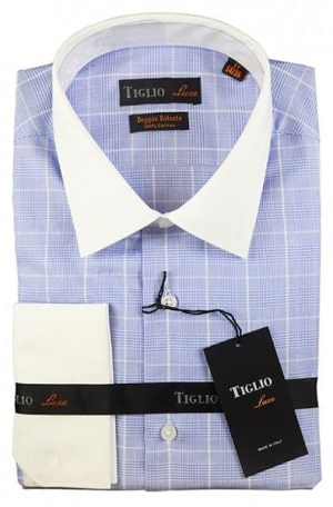 Tiglio Blue Plaid French Curr Tailored Fit Dress Shirt #13-25208