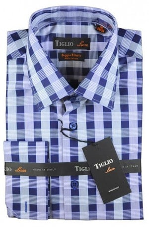 Tiglio Blue Pattern French Cuff Tailored Fit Shirt #13-25339