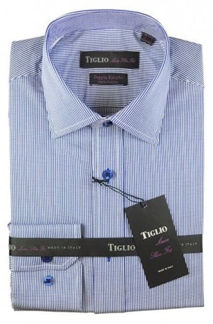 Tiglio Fine Blue Check Slim Fit Dress Shirt #13-25699