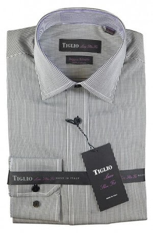Tiglio Black Check Slim Fit Dress Shirt #13-25701