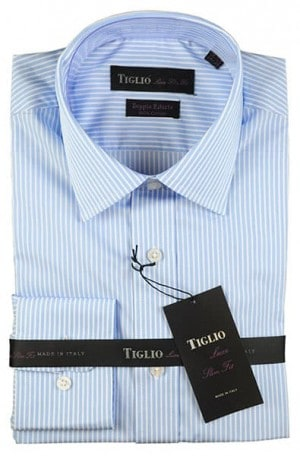 Tiglio Blue and White Stripe Slim Fit Dress Shirt #13-25703