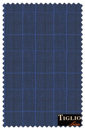 Tiglio Royal Blue Plaid Tailored Fit Suit #131166-1