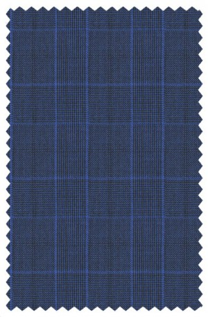 Tiglio Royal Blue Plaid Tailored Fit Suit #131166-1