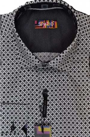 Spazio Uomo Gray Pattern Sport Shirt #1769-WHT