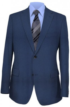 Calvin Klein 2 Button Notch Lapel Navy Herringbone Suit Separates