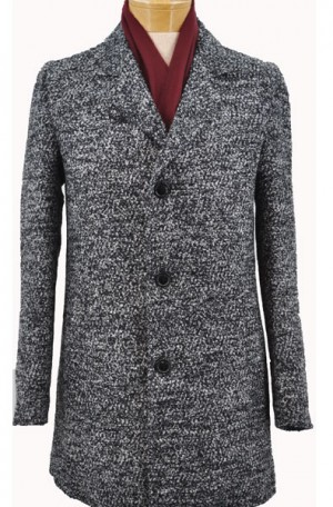 International Laundry Black & Gray Tweed 3/4 Length Tailored Fit Top Coat