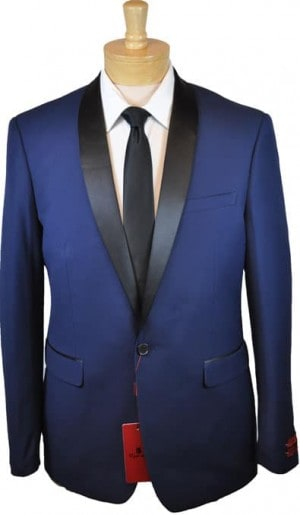 Renoir Blue Shawl Collar Slim Fit Tuxedo #201-19T