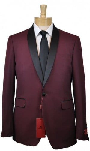Renoir Burgundy Shawl Collar Slim Fit Tuxedo #201-8