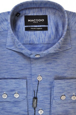 Maceoo Blue Heathered Sport Shirt #20170100013
