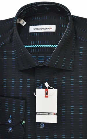 International Laundry Black Pattern Sport Shirt #2080-2