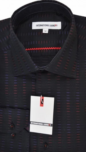 International Laundry Black Pattern Sport Shirt #2082-2