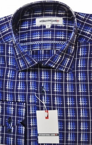 International Laundry Blue Pattern Sport Shirt #2098-5