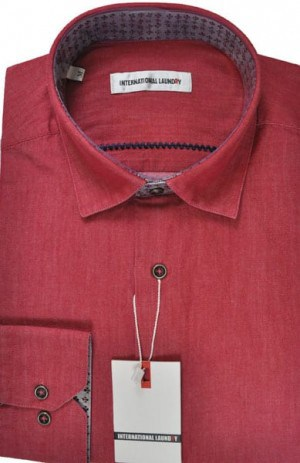 International Laundry Red Cotton Long Sleeve Tailored Fit Shirt #2107-11
