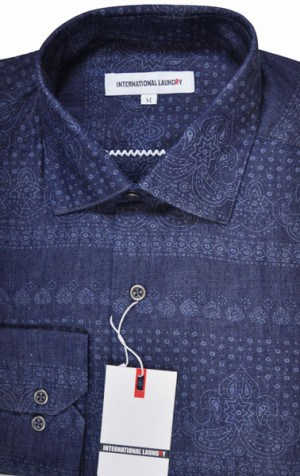 International Laundry Navy Pattern Shirt #2155-35