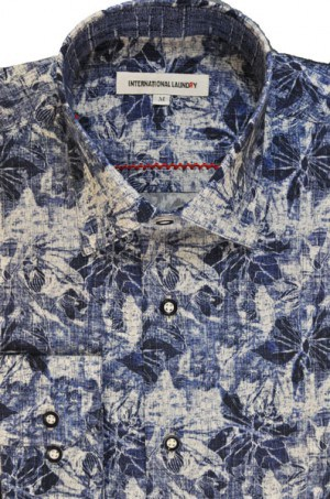International Laundry Blue Pattern Long Sleeve Shirt #3202-05