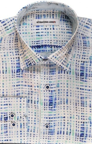 International Laundry Blue Pattern Ultra-Light Linen Shirt #3211-06