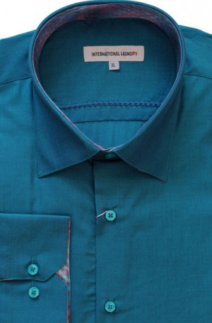 International Laundry Teal Blue Tailored Fit Shirt #4025-06
