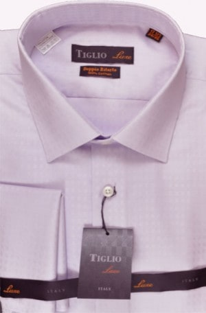 Tiglio Lavender Tonal Pattern French Cuff Tailored Fit Dress Shirt #40788