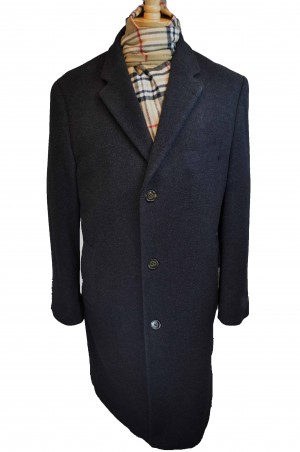 Harvard Black Wool-Cashmere Full length Tailored Topcoat #40911C