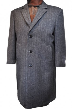 Harvard Charcoal Herringbone Full Length Tailored Topcoat #40917C