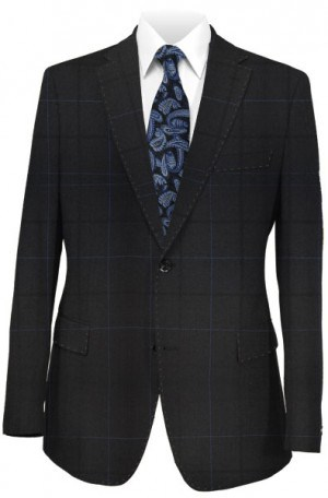 Rubin Black Windowpane Tailored Fit Suit 42100