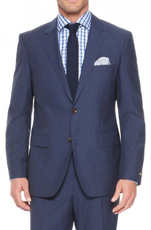 Hugo Boss Blue Mini-Check Tailored Fit Suit #50262917-420