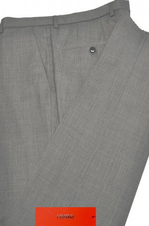 Hugo Boss Gray Mini-Check Slim Fit Dress Slacks #50374579-081