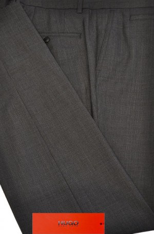 Hugo Boss Charcoal Micro-Check Slim Fit Dress Slacks #50375982-015