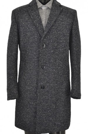 Hugo Boss Dark Blue Tweed Tailored Fit Topcoat #50395104-410
