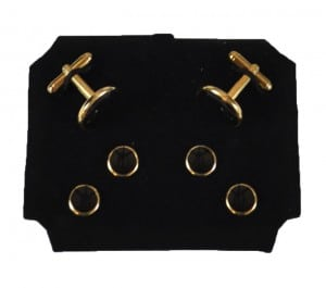 Round Black Cufflinks and Studs with Gold Trim