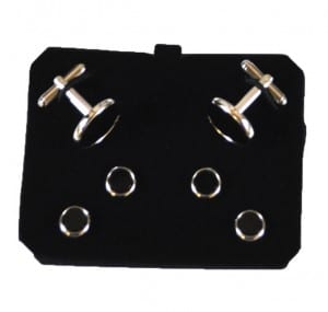 Round Black Cufflinks and Studs with Silver Trim