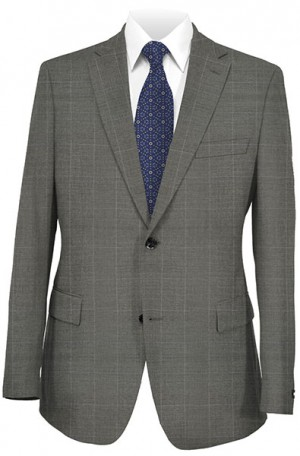 Rubin Gray Windowpane Tailored Fit Suit #52574