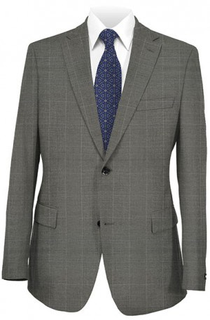 Rubin Gray Windowpane Tailored Fit Suit 52574