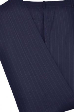 Petrocelli Navy Stripe Wool-Blend Slacks
