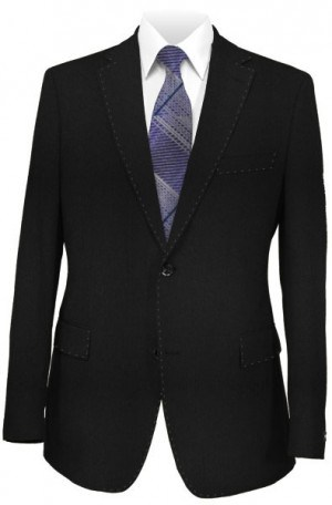 Petrocelli Black Solid Color Suit Separates