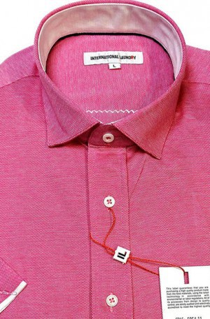 International Laundry Dark Pink Short Sleeve Tailored Fit Knit Shirt #5954-11
